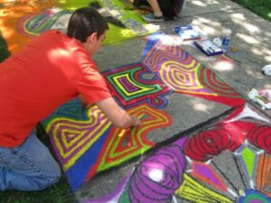 Teen Spring Break Sidewalk Chalk Art